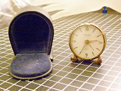 Antique Vintage Accura 15 Jewels Travel Alarm Clock In Fitted Case .99 Start