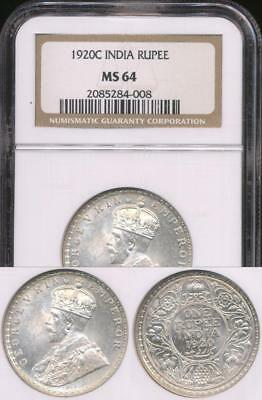 India, British India, 1920(c) Rupee, George V (Silver) - NGC MS64 (Ch-Unc)