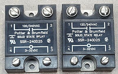 Lot of 2 POTTER&BRUMFIELD Solid State Relay, SSR-240D25 INPUT 3-32 VDC, 120/240V