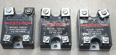 Lot of 3 OPTO 22 SOLID STATE RELAY, (2)MOD 120D10& MOL 120D25,  3-32 VDC CONTROL