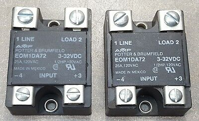 Lot of 2 AMF POTTER & BRUMFIELD 3-32VDC 25A,120VAC,1/2HP SS STATE RELAY EOM1DA72