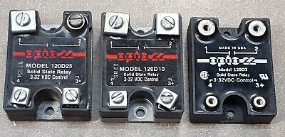 Lot of 3 OPTO 22 SOLID STATE RELAY 120D25, 120D10, 120D3, 3-32VDC CONTROL.