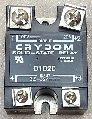 CRYDOM Solid State Relay, D1D20 INPUT 3.5-32 VDC, OUTPUT 100VAC~20A. This is a g