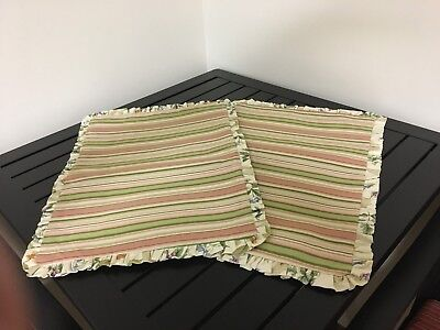 """""""LONGABERGER"""" Two (2) Placemats in Botanical Fields/Botanical Fields Stripe"""
