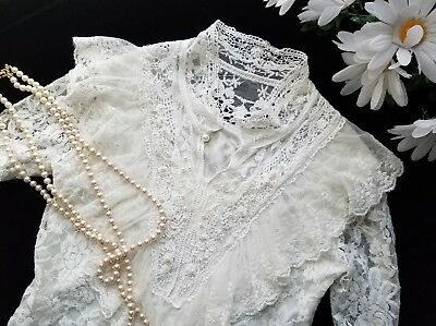 White Victorian Stretch Lace Top Ruffle Crochet & Pearl beads Accents Sz S