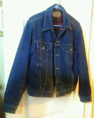 vtg Levis BLUE DENIM 80s Red Buffalo Flannel Lined JACKET 42 trucker usa quality