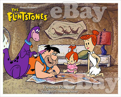 Rare! FLINTSTONES Cartoon Color Photo HANNA BARBERA Studios PEBBLES & DINO