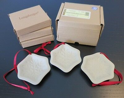 Set of 3 Longaberger Snowflake Cookie Mold/Ornaments/Package Tie-on - NIB