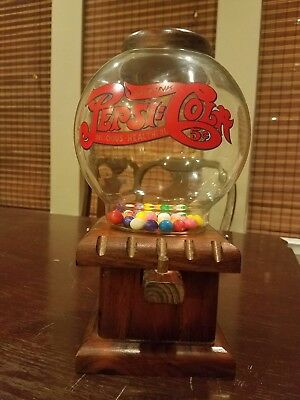 Vintage Antique Pepsi - Cola Wooden Wood Gumball Nut Dispenser w/ Glass Globe