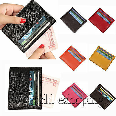 Womens Men Genuine Leather Small Credit Card Wallet Holder Mini Purse Slim Case