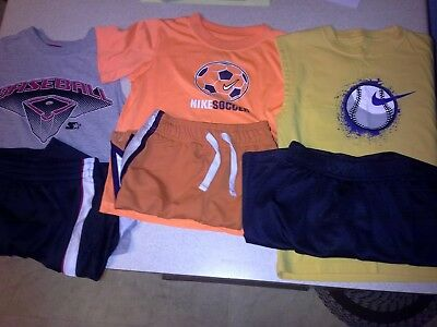 Lot of 6 items/3 pairs Sz 7 boys Nike Starter outfits shirts short tops