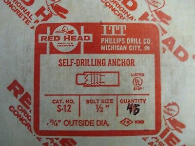 Red Head S-12 Self Drilling Anchor Qty 45 Bolt Size 1/2'' OD 11/16