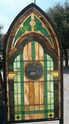 4  Antique Church Stained Glass Windows Architectural 1800s+