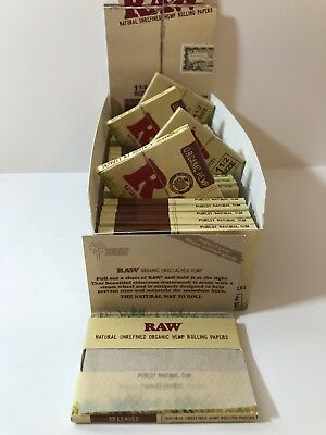 "Raw Organic Hemp Rolling Papers 1 1/2"" Size 33 Leaves / 25 Units Per Box"