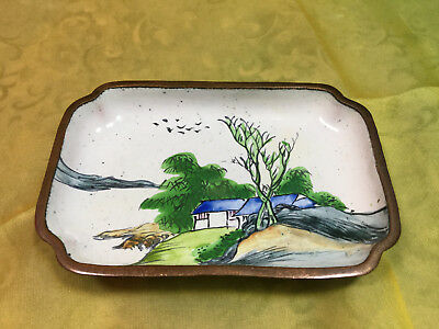 Enameled Copper Hand Painted Dish/Tray
