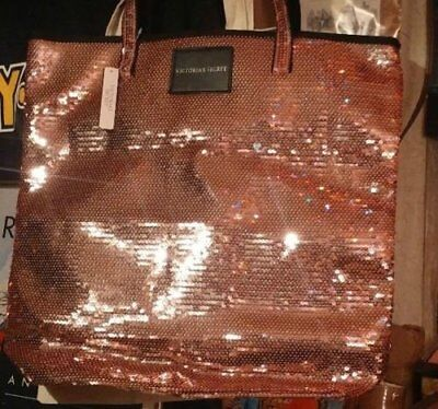 NEW Victoria's Secret Supermodel SEXY Pink Sequins Bling Tote Bag Purse