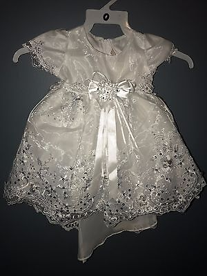 New Baby Girl's white Christening Baptism Dress with Bonnet (Size 00 - 24months)