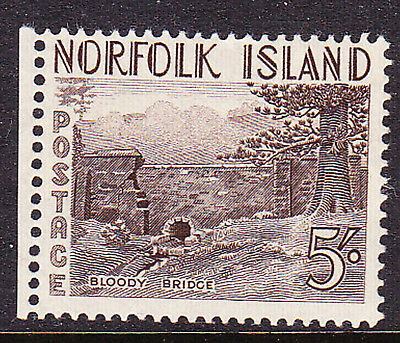 Norfolk Island 1953 5/- Bloody Bridge Mint Very Light Hinge Mark With Selvage
