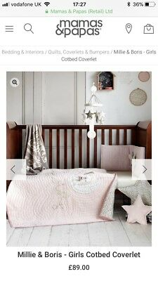 mamas and papas millie and boris cot coverlet quilt cot bed RRP £89
