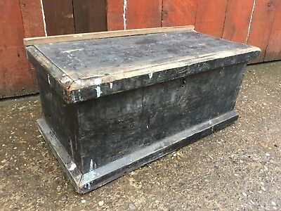 🛠 Old Vintage Antique Carpenters Trunk Chest Toolbox With Fitted Interior