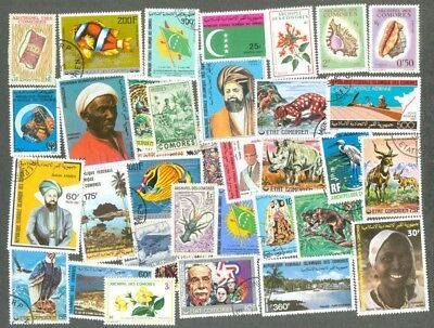 Comoros islands 200 all different stamp collection