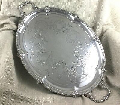 Antique Silver Plated Tray Large Butlers Victorian Twin Handled Serving