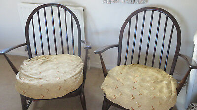 Pair of Vintage/Retro solid wood fireside spindleback Chairs for Reupholstery