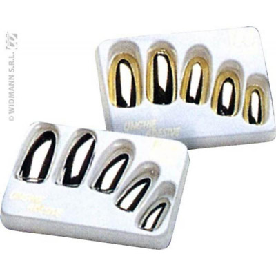 boite 15 faux ongles argent + 30 adhesifs - FA18285/ARGENT