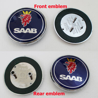 Blue 2pcs For Saab Badge 9-3,9-5 68mm Set Boot Back & Bonnet Front Logo Emblem