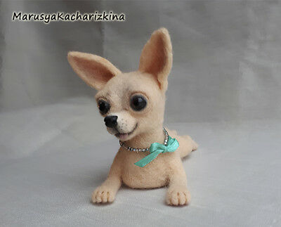 OOAK Needle felted dog, Felt dog sculpture, Miniature, Art, Chihuahua, New Year