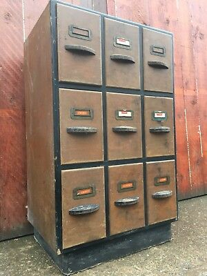 ⭐️ Old Vintage Antique Bank Of Drawers Index Dovetail Industrial Cabinet ⭐️