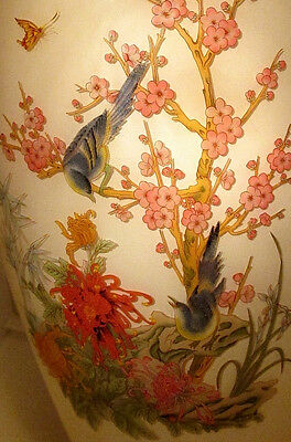 Cased Glass Vase Hp Enameled Cameo Birds Butterfly