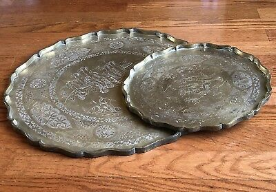 Pair Of 2 Pcs Antique Chinese Brass Tray Engraved