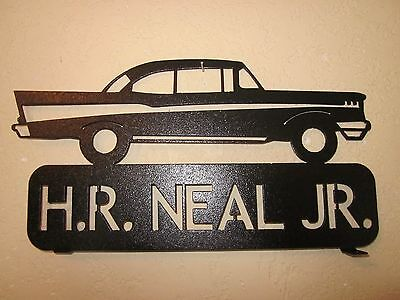 STEEL BLACK POWDER COAT CUSTOM  1956 CHEVY MAILBOX TOPPER SIGN YOUR NAME