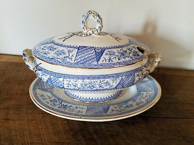 Blue and White Antique Tureen – Gold Gilt – Marked Attica - Blue Flow?