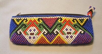 Vintage Native American glass beaded pouch with Geometric design
