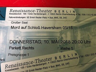 2 Tickets Renaissance-Theater Berlin Mord auf Schloss Haversham 10.05.2018