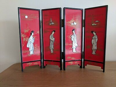 Antique Mini Japanese Lacquer Wooden Screen with Mother of Pearl