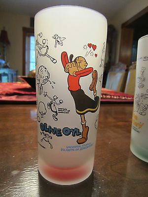 """Olive Oyl"" tall drinking glass,Frosted/Red,6-1/4""Tallx2/34""D,Universal Studios"