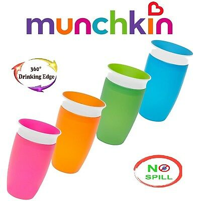 Munchkin Miracle Sippy Cup 296 ml 360 Degree No Spill Blue Pink Green Orange NEW