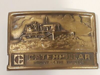 Caterpillar Vintage Belt Buckle Track Type Tractor Brass CAT Buckle