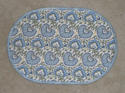 NEW Handmade 4 OVAL placemats Longaberger Earth & Sky, Blue & White, Spring LOOK