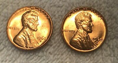 1960 D Small Date and Large Date BU Nice Beautiful MS/BU RED Lincoln Cent!