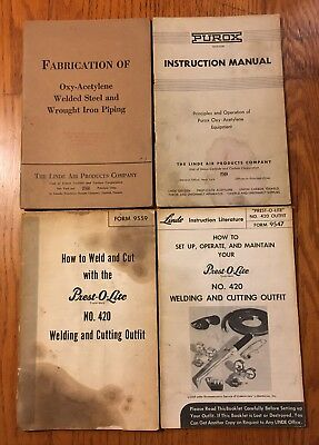 Vtg Lot Linde Air Products Books Oxy-Acetylene Fabrication & Instructions Manual