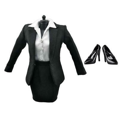 """Black Business Skirt Suit High Heels for 1/6 Scale Female 12"""" Action Figures"""