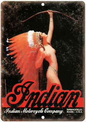 """Indian Motorcycle Company Vintage Girl Ad 10"""" x 7"""" Reproduction Metal Sign F01"""