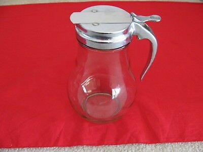 "Large  Soda Fountain Glass Syrup Dispenser 8.5"" Tall Metal Handle"