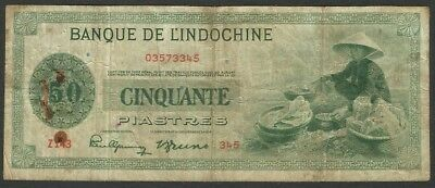 French Indochina P 77a - 50 Piastres 1945 in very used condition (rb)