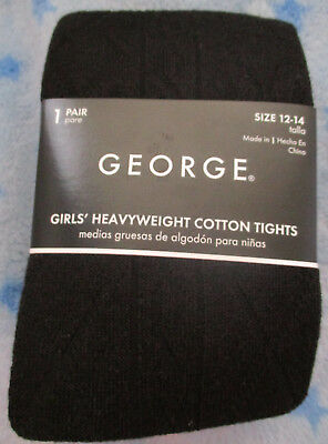 Girls George Heavyweight Cotton Tights Patterned Black Size:12-14 NWT!