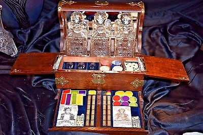 3 Bottle TANTALUS Locking GAMING POKER BOX Bone Chips Dice Dominoes Clay Chips